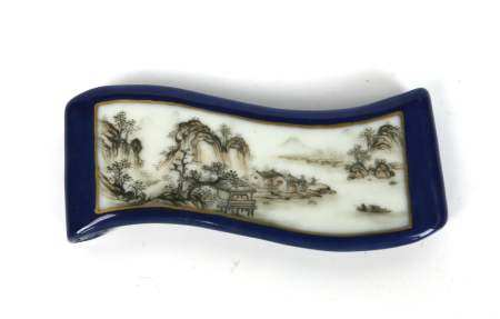 A Chinese Sacrificial Blue Grisalle Ink Bed