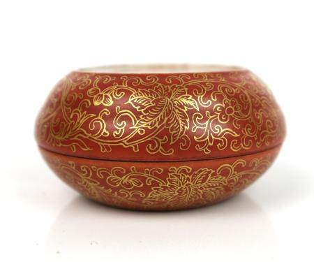 A Chinese Iron Red Gilt Seal Paste Box