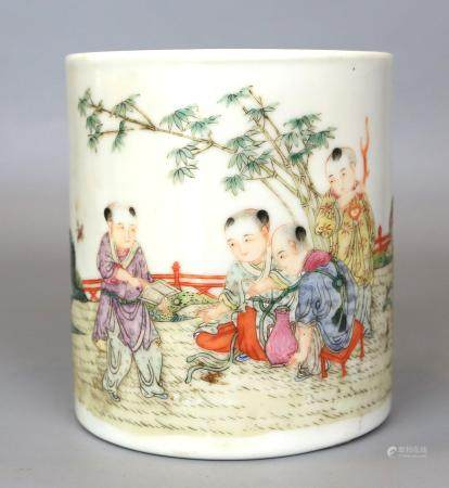 A Chinese Famille Rose Children Play Brush Pot
