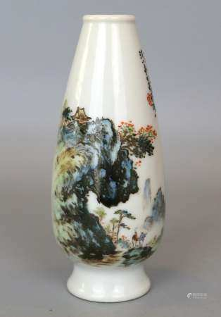 A Chinese Blue & Green Landscape Vase, Signature of