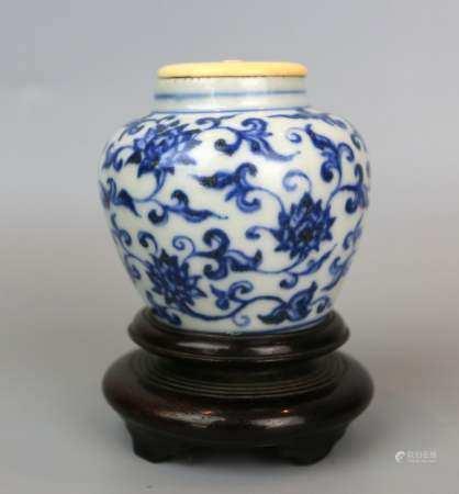 A Chinese Blue & White Lotus Pattern Jar