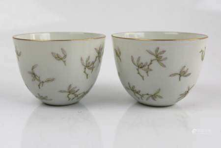 A Pair of Chinese Famille Rose Wine Cups, Tongzhi Mark