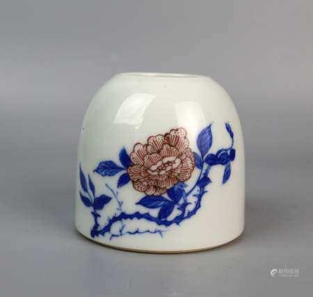 A Chinese Blue & White Underglaze Red Waterpot, Kangxi