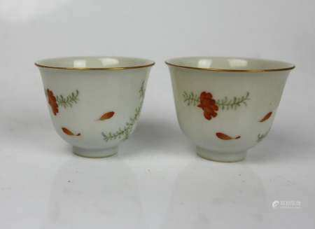 A Pair Famille Rose Cups