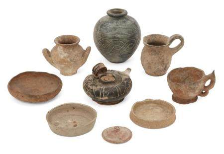 A group of ancient pottery vessels
