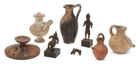 A group of antiquities comprising three Cypriot pottery vess
