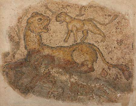 A late Roman marble mosaic of a lion