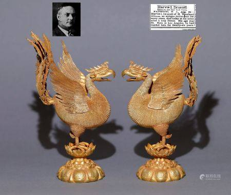 Liao Dynasty - Pair of Pure Gold Phoenix