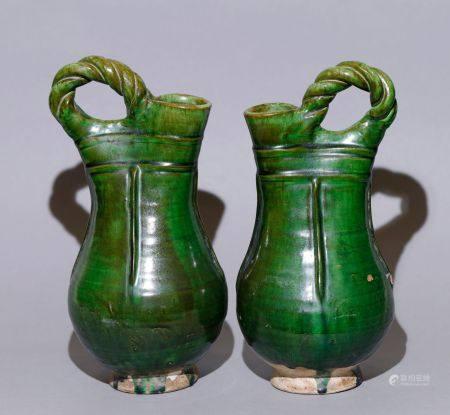 Liao Dynasty - Pair of Green Glaze Vessel