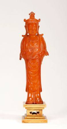 Liao Dynasty-Beeswax Buddha Statue, Pure Gold Base