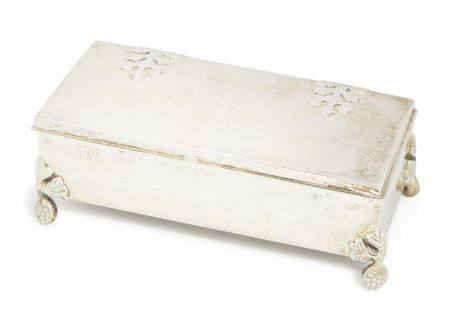 An Irish silver Arts & Crafts silver box, Dublin, c.1908, T. Weir & Sons, of plain rectangular form,