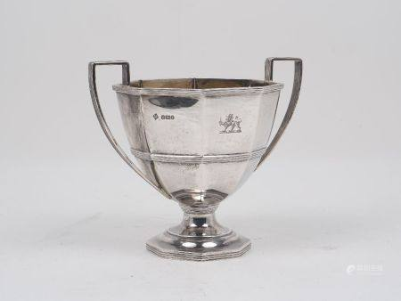A twin handled silver dish, Sheffield, c.1895, Martin, Hall & Co., the octagonal body with