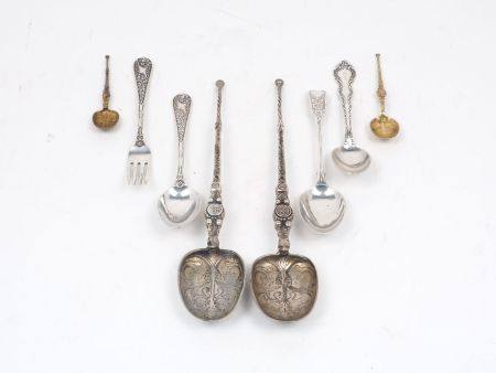 A collection of silver spoons, to include a pair of late Victorian spoons, John Millward Banks,