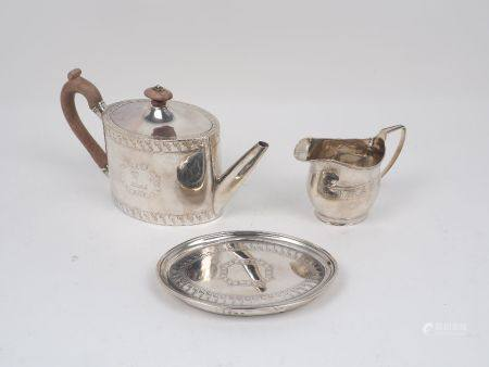 A George III silver oval teapot and stand, London, c.1790, Henry Chawner, together with a silver
