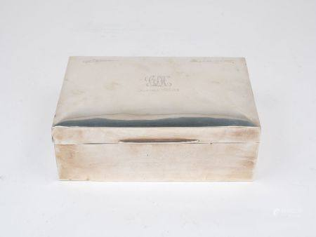 An Edwardian silver table cigarette box, Chester, c.1906, James Deakin & Sons, of plain, rectangular
