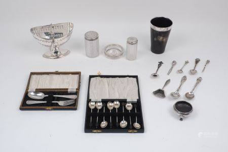 A group of silver items including: a cased Victorian Christening set, London, c.1891, Josiah