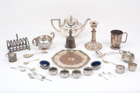 A collection of silver and silver plated items including: a twin handled silver bowl, Birmingham,