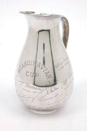 A Swedish silver jug, stamped 950, of tapering bulbous form, the body engraved 'Scandinavian Cup'
