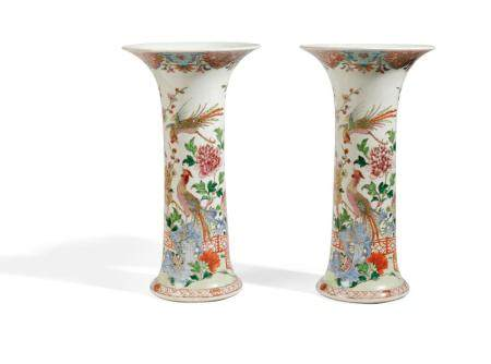 A PAIR OF FAMILLE ROSE PORCELAIN TRUMPET VASES, CHINA, 18TH