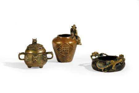 TWO BRONZE CENSERS AND A BRONZE VASE, CHINA, 18TH-19TH CENTU