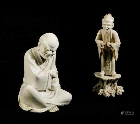 TWO BLANC-DE-CHINE PORCELAIN FIGURES, CHINA, 19TH-20TH CENTU