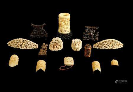 TWELVE IVORY OBJECTS TOGETHER WITH TWO WOOD STANDS, CHINA, P