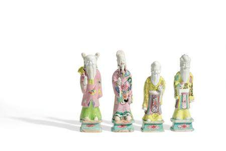 FOUR SMALL FAMILLE ROSE PORCELAIN IMMORTALS FIGURES, CHINA,