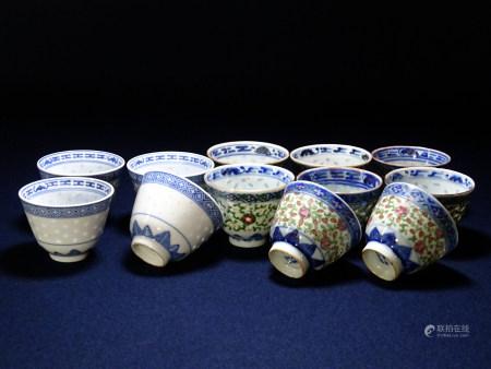 康煕年製・景徳鎮製款 色絵蛍 煎茶碗 16客