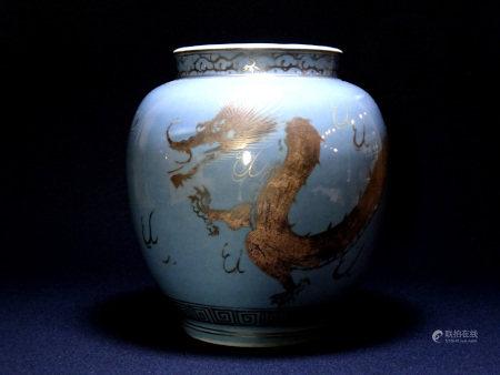 天青釉銀彩龍雲文瓶