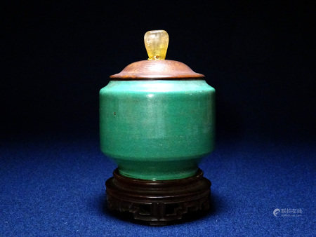 清 緑釉香炉 水晶摘蓋
