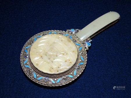 銀製 藍泰蝙蝠花文砡入手鏡