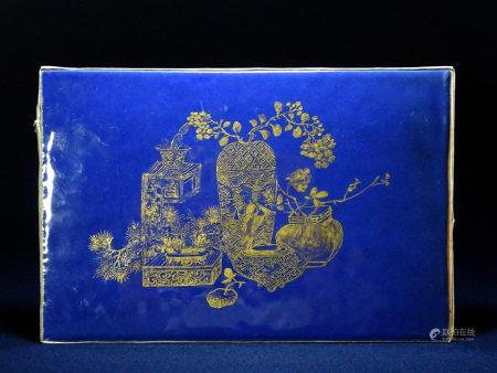 清 茄皮紫釉 金彩 花籠図 陶板