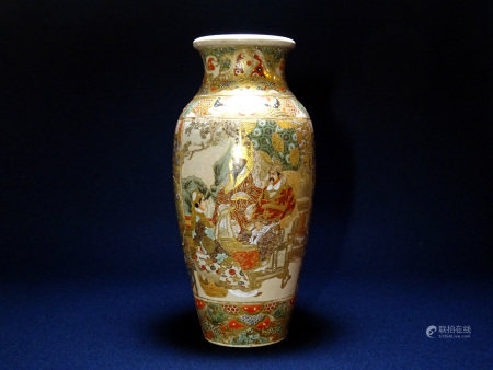 明治時代 薩摩焼 金彩人物図瓶