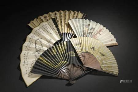 Cinq éventailsChineEncre et couleur sur papier et soie, à décor de femme, prunus, paysages et c