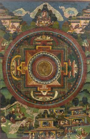 Thangka représentant un mandala à l'encre et couleur sur toileTibet, XXe siècleAu centre un man