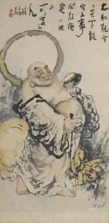 Peinture à l'encre et couleur sur papierChineÀ décor d'un luohan assis sur un rocher, la poitri