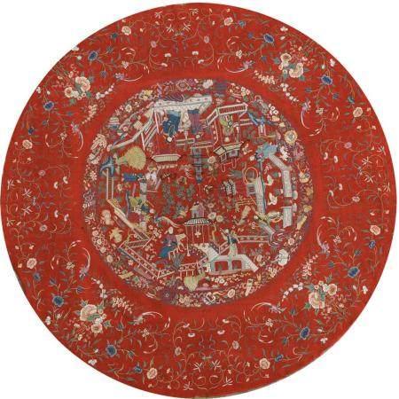 Deux tentures en laine brodée et en soie peinteChine, époque Guangxu (1875-1908)La première cir