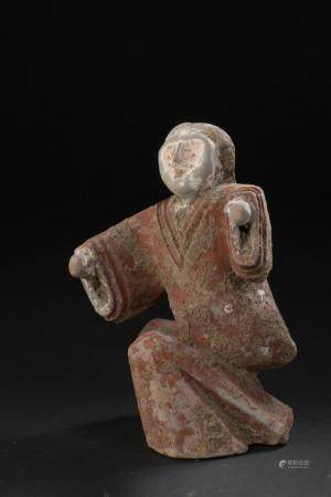 Danseur en terre cuite grise et polychromie rouge carminChine, époque Han (206 av. à 220 ap. J.