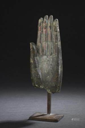 Main de bouddha en bronze Thaïlande XVIIème, XVIIIème siècle H. 16,4 cm