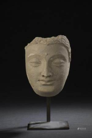 Tête de Bouddha en stucAfghanistan, art gréco-bouddhique du Gandhara, IVe-Ve siècleLe visage lé