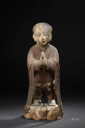 Statue de hoho en bois sculpté et laquéChine, XXe siècleReprésenté debout sur une base rocaille