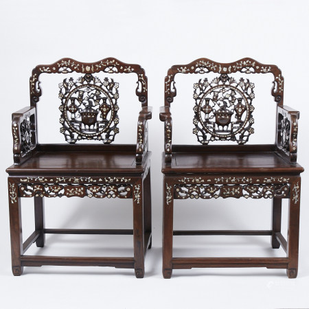 Pr Chinese Qing Dynasty Inlaid Rosewood Chairs