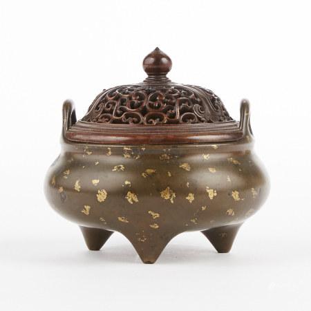 17th/18th c. Chinese Gilt Splashed Bronze Tripod Censer