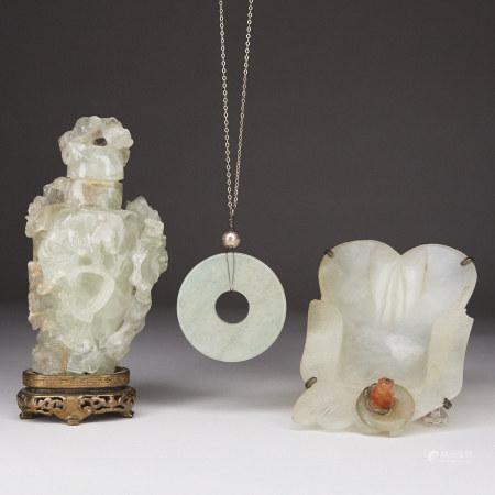 Grp: 3 Chinese Jade Bi Pendant - Vase - Brush Washer