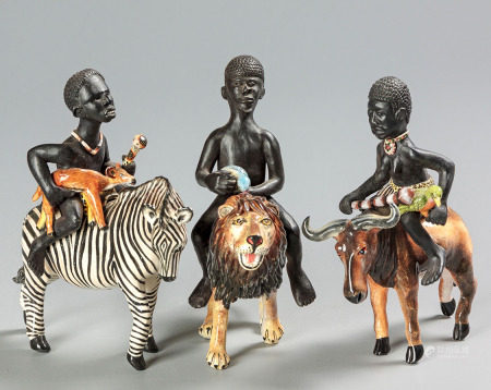 AN ARDMORE FIGURE OF A YOUTH RIDING A ZEBRA, 2011