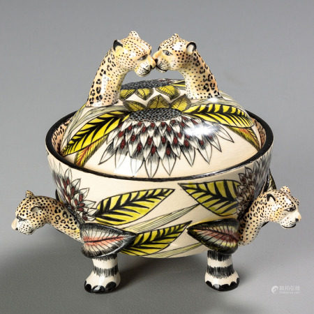 AN ARDMORE LEOPARD DISH AND COVER, 2010