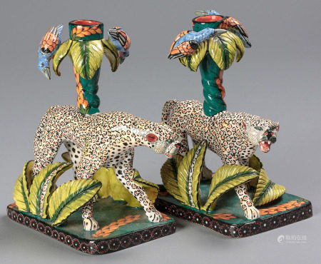 A PAIR OF ARDMORE LEOPARD CANDLEHOLDERS, 2008