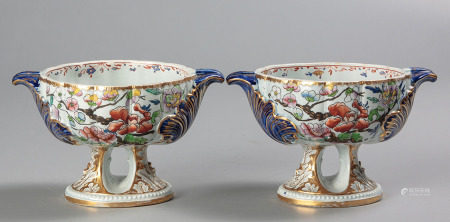 A PAIR OF MASON'S IRONSTONE PEDESTAL DISHES, 1813 - 1820