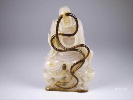 白玉巧雕羅漢坐像