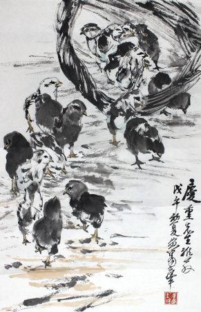 黄胄 群鸡